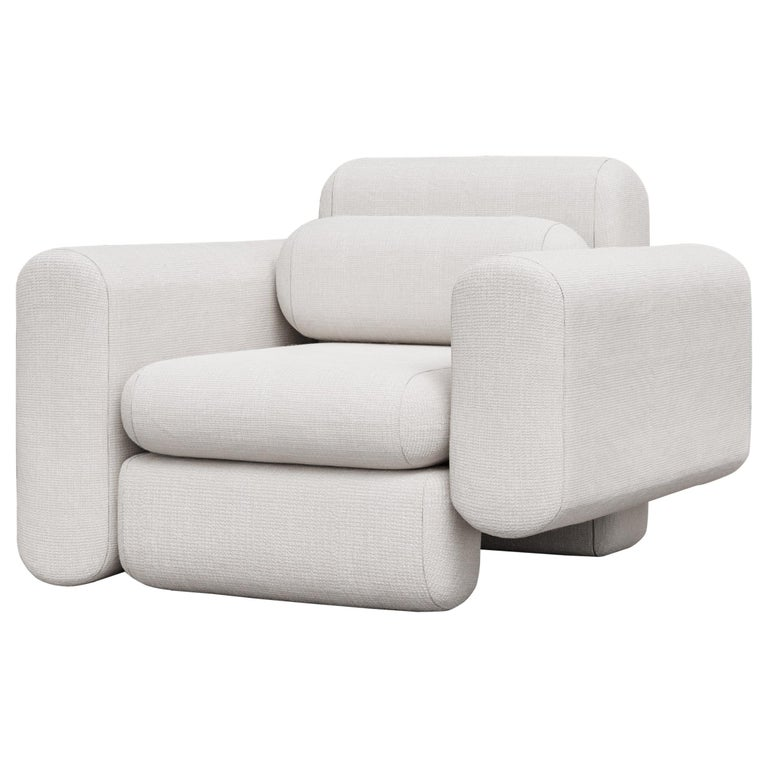 Asym Chair, Modern Asymmetrical Sectional Chair in Cream Boucle For Sale