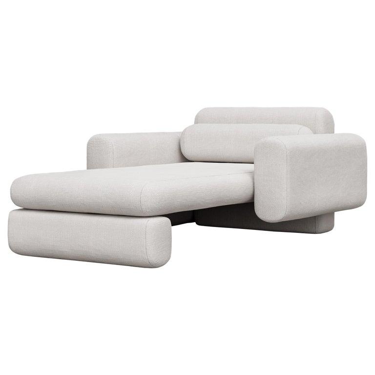 Asym Chaise, Modern Asymmetrical Chaise Lounge in Cream Boucle For Sale