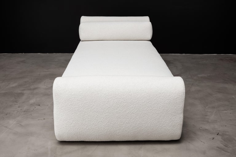 American ASYM Day Bed, Modern Asymmetrical Day Bed in Cream Boucle For Sale