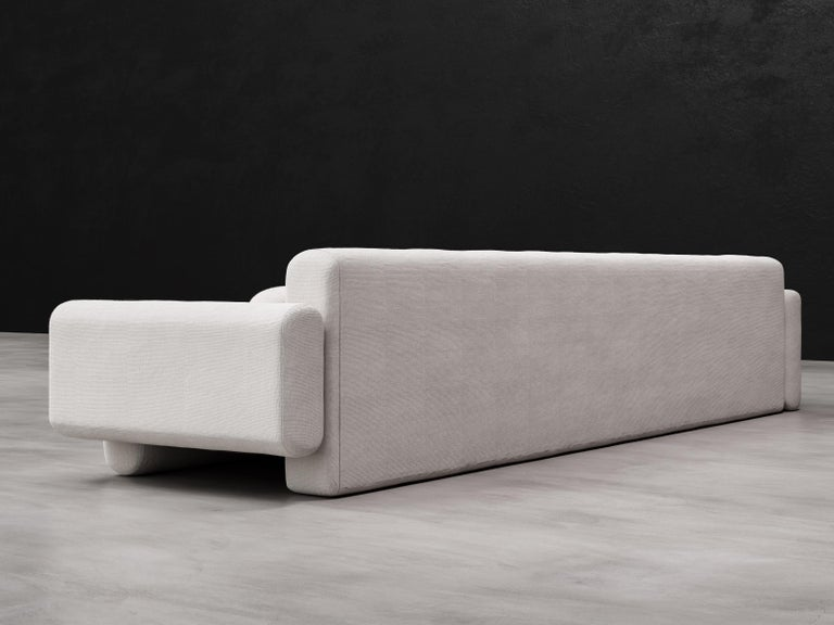 Asym Sectional, Modern Asymmetrical Sectional Sofa in Cream Boucle In New Condition For Sale In Laguna Niguel, CA
