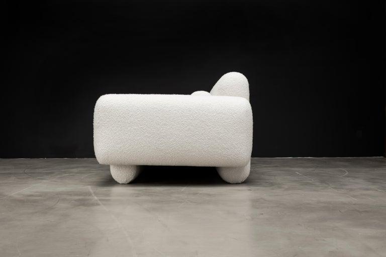 American Asym Sofa, Modern Asymmetrical Sofa in Cream Boucle  For Sale