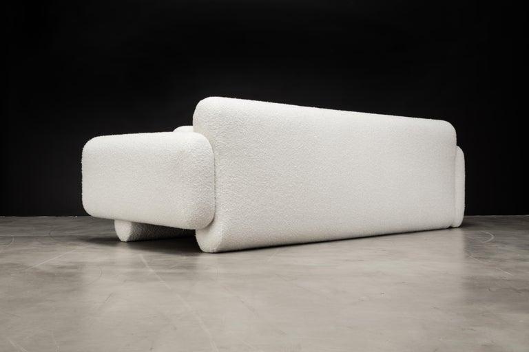 Contemporary Asym Sofa, Modern Asymmetrical Sofa in Cream Boucle  For Sale