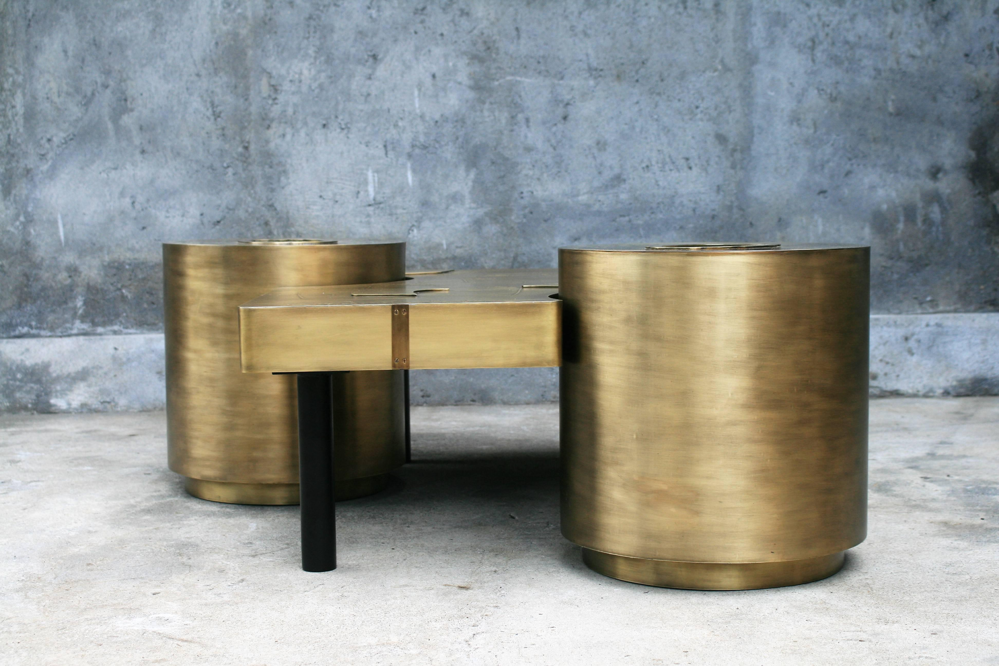 Three Piece Coffee Table By Belgali Acid Etched Brass Led Lighting Agates  At 1stdibs
