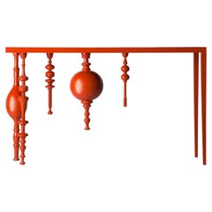 Asymmetric Arabesque Inspired Console with Lacquered Wood in Bright Orange Color