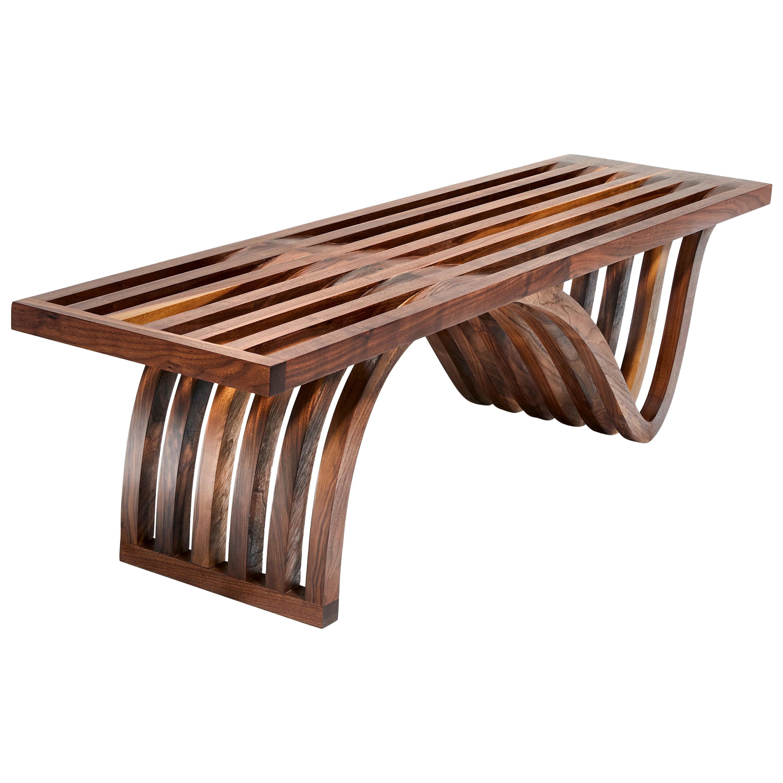 """""""Asymmetric Bench"""" by  Studio Craft Artist Adam Zimmerman, 21st Century"""
