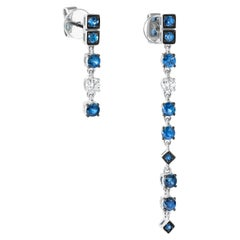 Asymmetric Blue Sapphire White Diamond White Gold Dangle Fashion Earrings