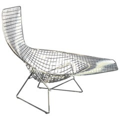 Asymmetric Chaise Lounge by Harry Bertoia for Knoll International, Chromed Steal