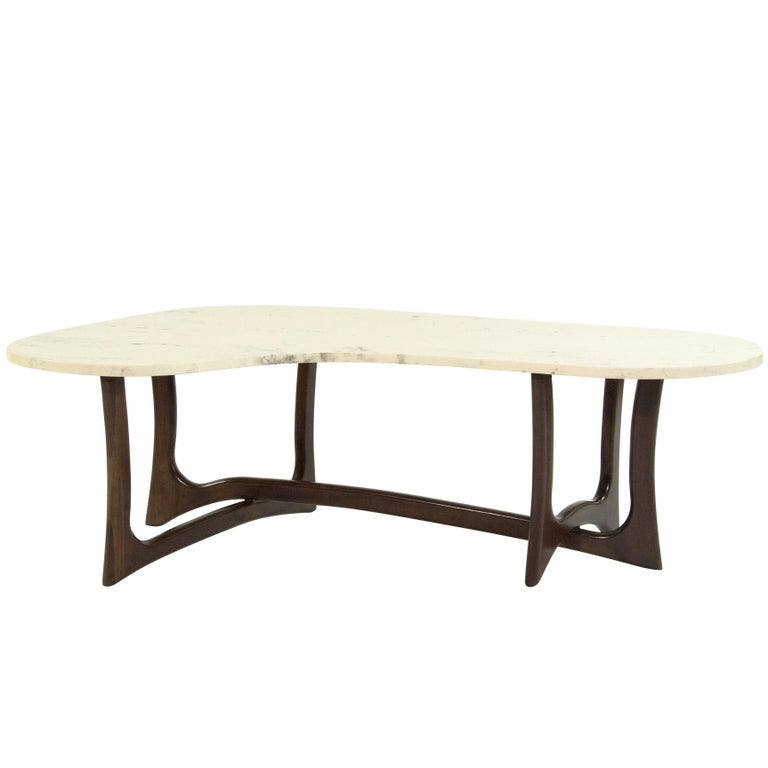 Asymmetric Marble Top Coffee Table By Adrian Pearsall For Sale At