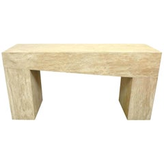 Asymmetric Massive Travertine Console or Sofa Table