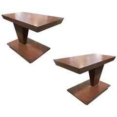 Asymmetric Midcentury Walnut Side Table, Pair