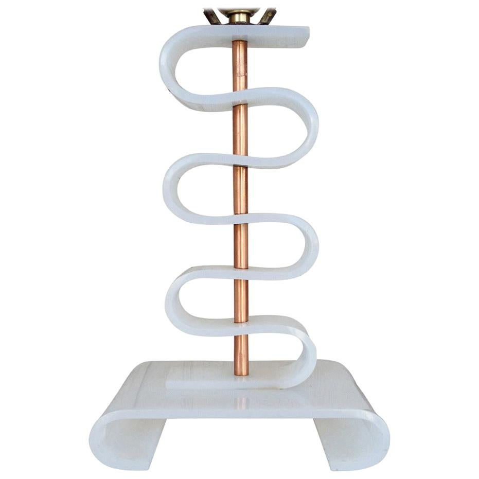 Asymmetric Midcentury Era Acrylic and Brass Table Lamp
