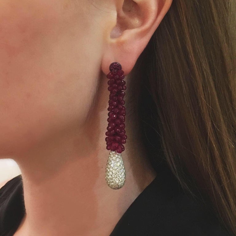 Contemporary Asymmetrical Ruby and Diamond High Jewelry Pendant Earrings by de Grisogono For Sale