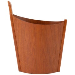 Asymmetric Teak Waste Basket by Westnofa