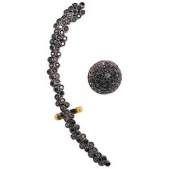 Asymmetrical Black Diamond Earring Stud and Black Diamond Ear Climber 18k 925