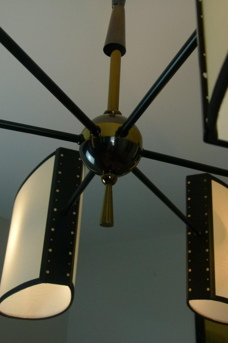 Asymmetrical chandelier with six lighted arms by Maison Lunel, circa 1950 5