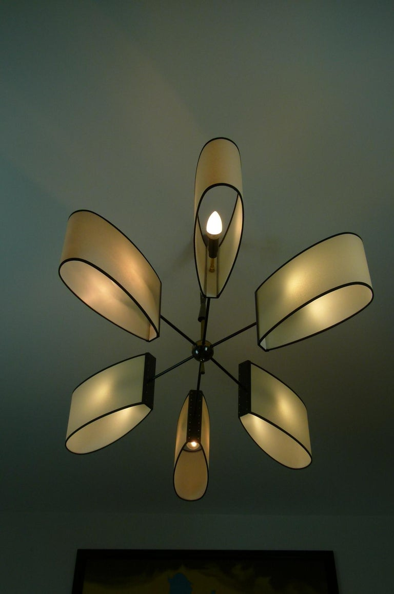 20th Century Asymmetrical chandelier with six lighted arms by Maison Lunel, circa 1950