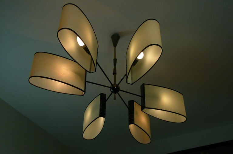 Asymmetrical chandelier with six lighted arms by Maison Lunel, circa 1950 2