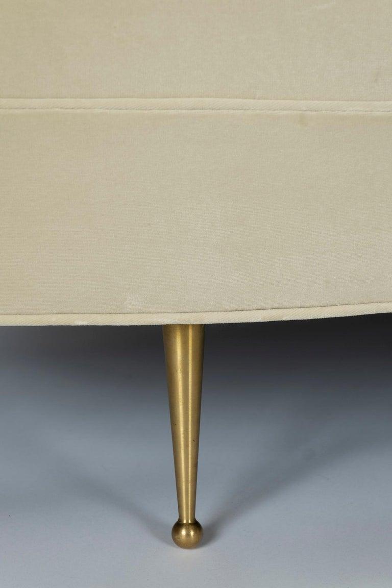 Modern Asymmetrical Curve Back Italian Style Sofa, Right Arm For Sale