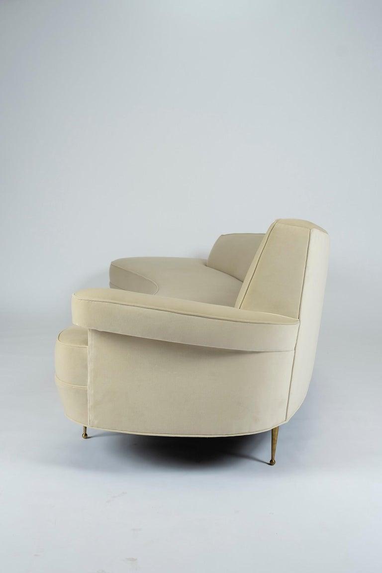 Cast Asymmetrical Curve Back Italian Style Sofa, Right Arm For Sale