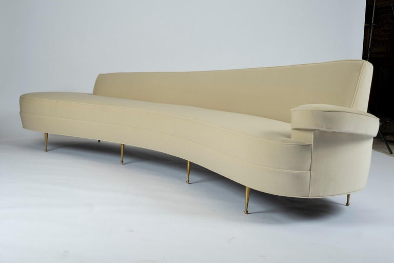 Asymmetrical Curve Back Italian Style Sofa, Right Arm In New Condition For Sale In Houston, TX