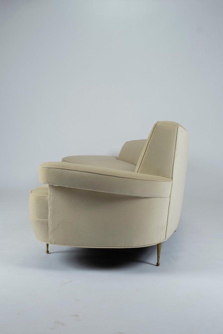 Contemporary Asymmetrical Curve Back Italian Style Sofa, Right Arm For Sale