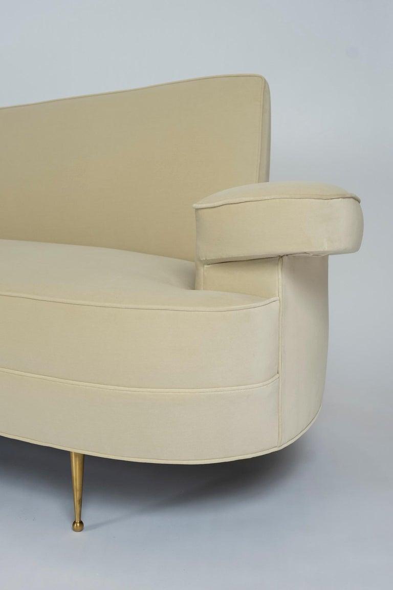 Brass Asymmetrical Curve Back Italian Style Sofa, Right Arm For Sale