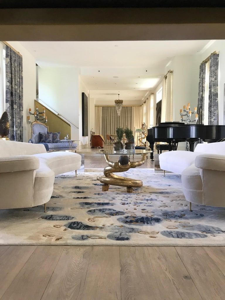 Asymmetrical Curve Back Italian Style Sofa, Right Arm For Sale 1
