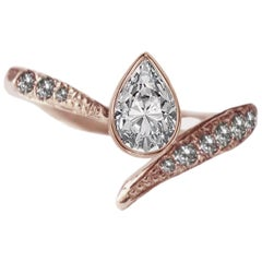 Asymmetrical Engagement Pear Diamond Ring in 18 Karat Rose Gold