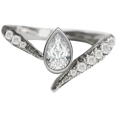 Asymmetrical Engagement Pear Diamond Ring in 18 Karat White Gold