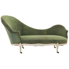 Asymmetrical Green Velvet Chaise Lounge