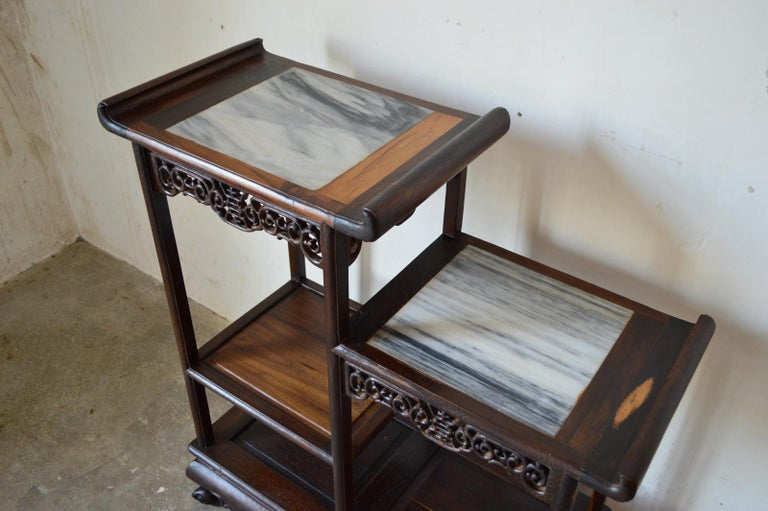 Asymmetrical Indochinese Shelves / Pot Stand / Bookcase in Carved Wood, 1930s For Sale 5