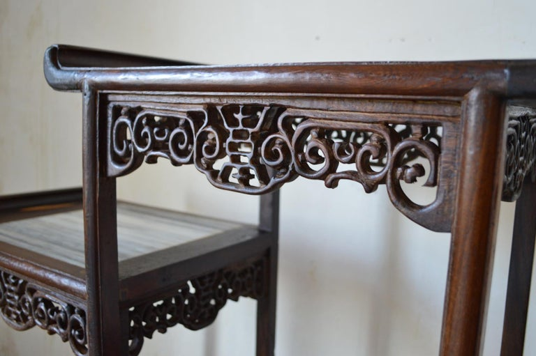 Asymmetrical Indochinese Shelves / Pot Stand / Bookcase in Carved Wood, 1930s For Sale 6