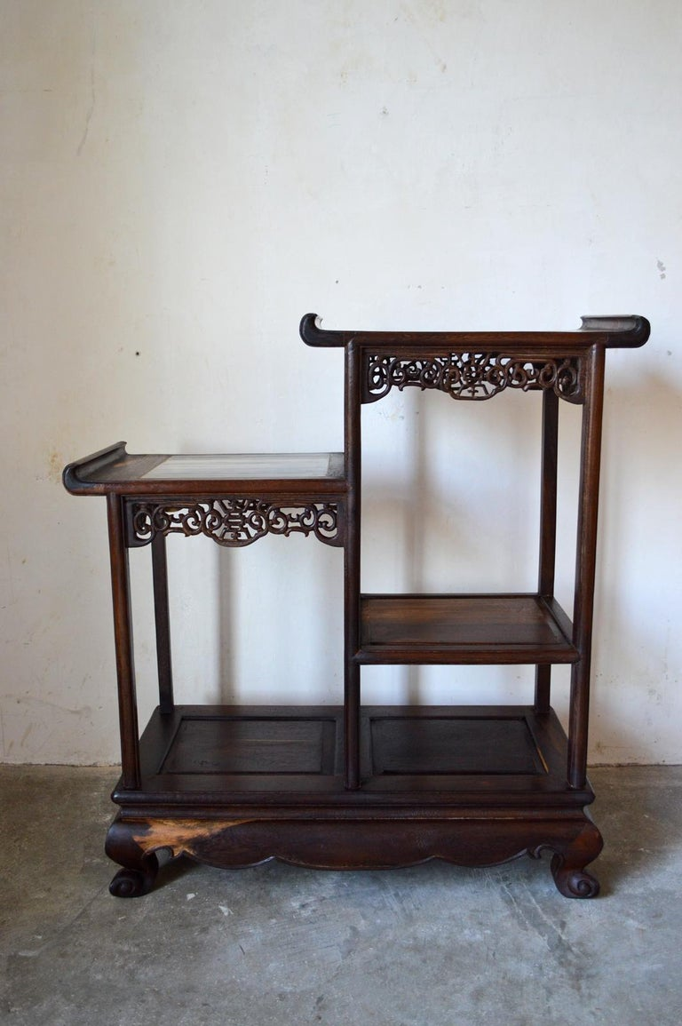 Japonisme Asymmetrical Indochinese Shelves / Pot Stand / Bookcase in Carved Wood, 1930s For Sale