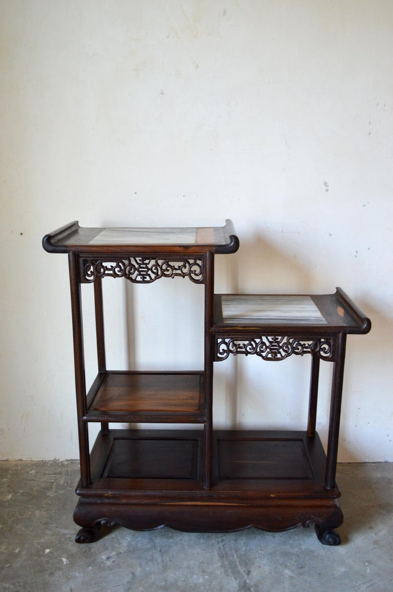 Vietnamese Asymmetrical Indochinese Shelves / Pot Stand / Bookcase in Carved Wood, 1930s For Sale