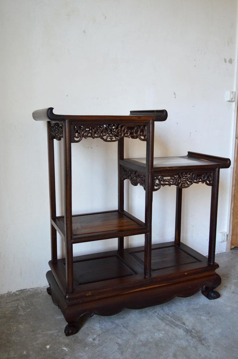 Mid-20th Century Asymmetrical Indochinese Shelves / Pot Stand / Bookcase in Carved Wood, 1930s For Sale