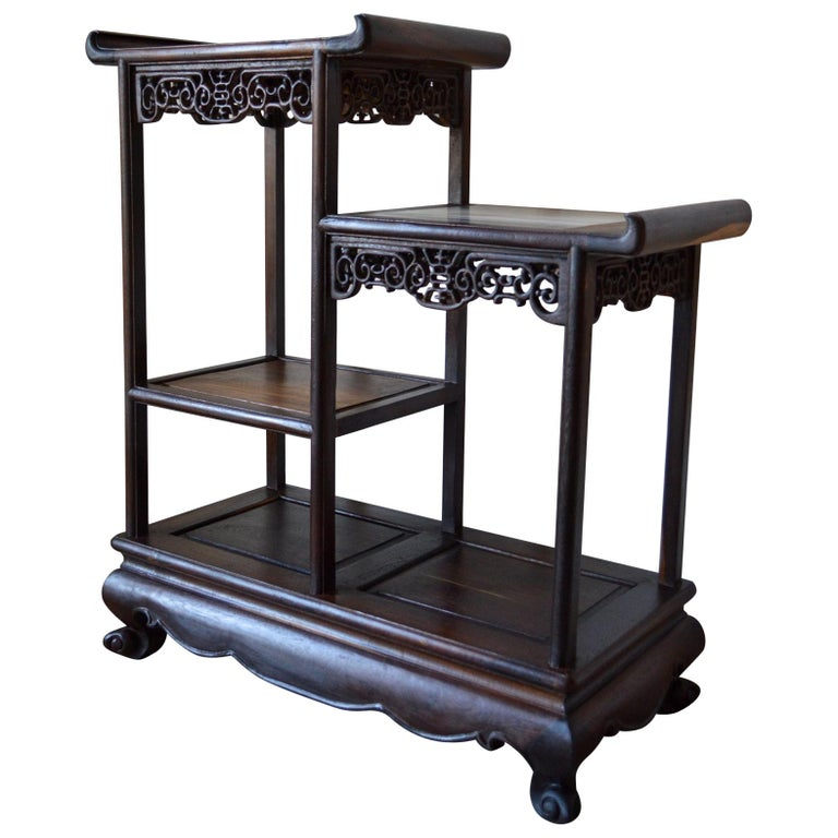 Asymmetrical Indochinese Shelves / Pot Stand / Bookcase in Carved Wood, 1930s For Sale