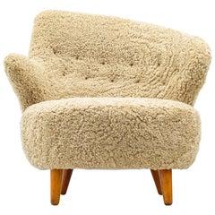 Asymmetrical Lounge Chair in Sheep Skin by Vik & Blindheim