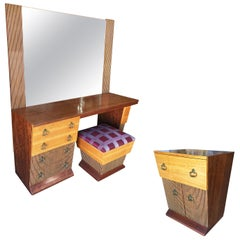 Asymmetrical Midcentury Bedroom Set, Vanity