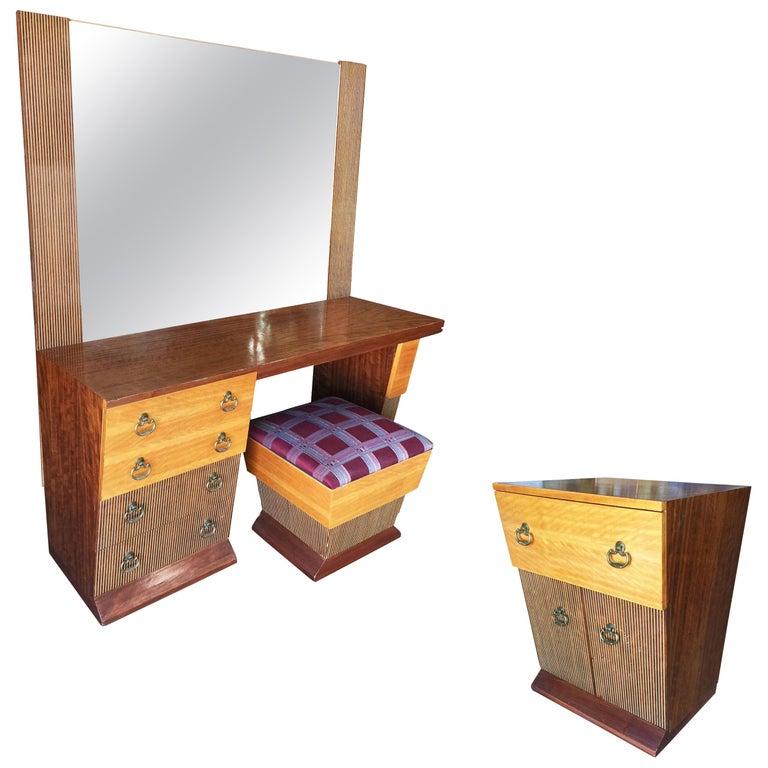 Asymmetrical Midcentury Bedroom Set, Vanity For Sale
