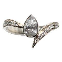 Asymmetrical Pear Diamond Ring in 18 Karat White Gold