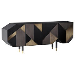 Asymmetrical Sideboard Design, Graphite/Bronze