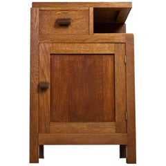 Asymmetrical Storage Cabinet in Solid Oak, 1930s Art Deco