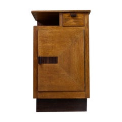 Asymmetrical Storage Cabinet in Solid Oak by Hendrik Wouda, 1930s Art Deco