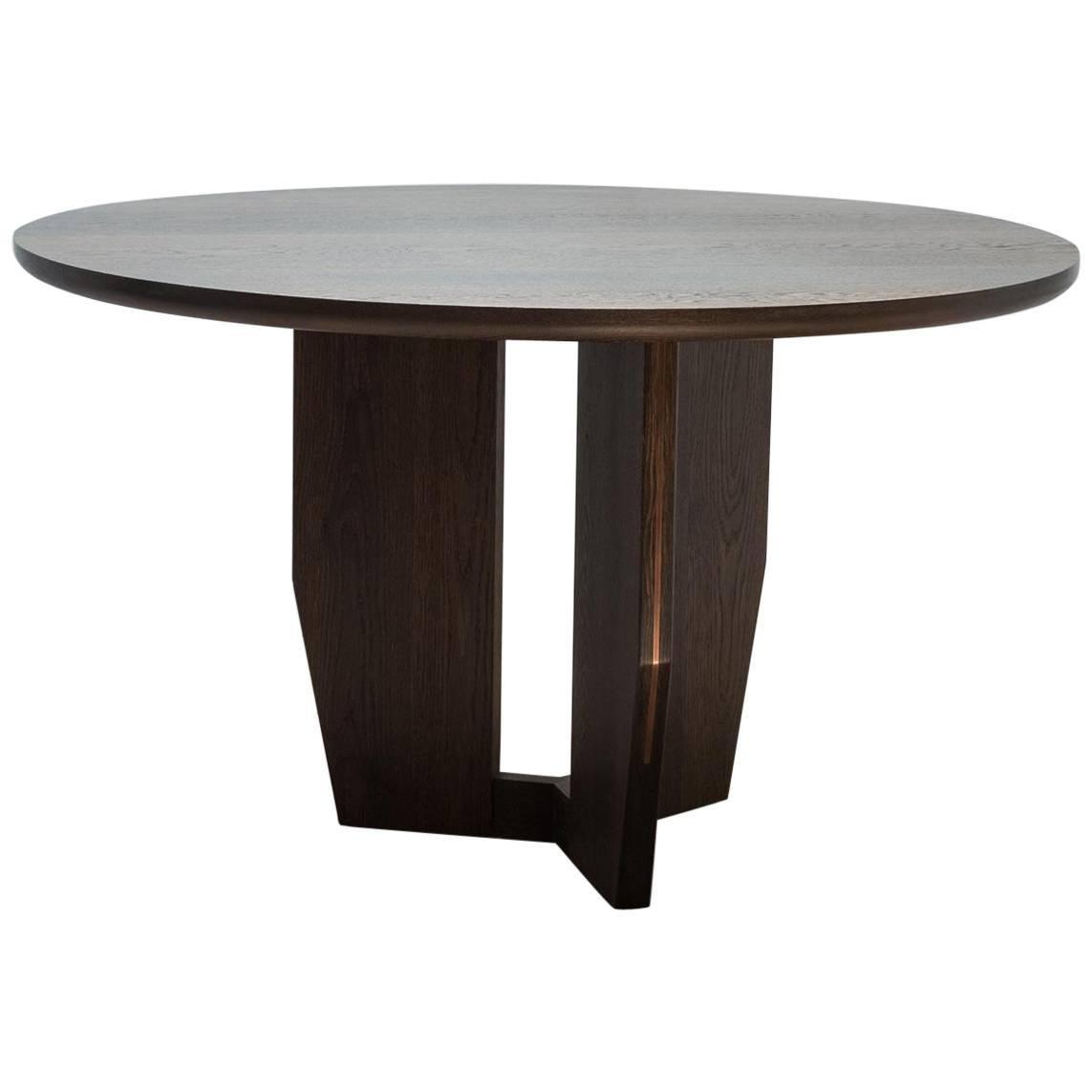 Round Symmetrical Table in Oxidized White Oak