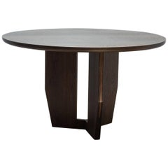 Round Symmetrical Table in Oxidized White Oak