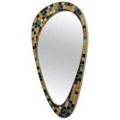 Berthold Muller style Asymmetrical Wall Mirror in Black and Gold Mosaic, 1950s
