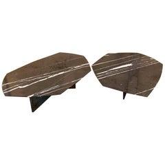 Asymmetrik Coffee Table SET, Large, Oxidized Brass and Black Marble by Atra