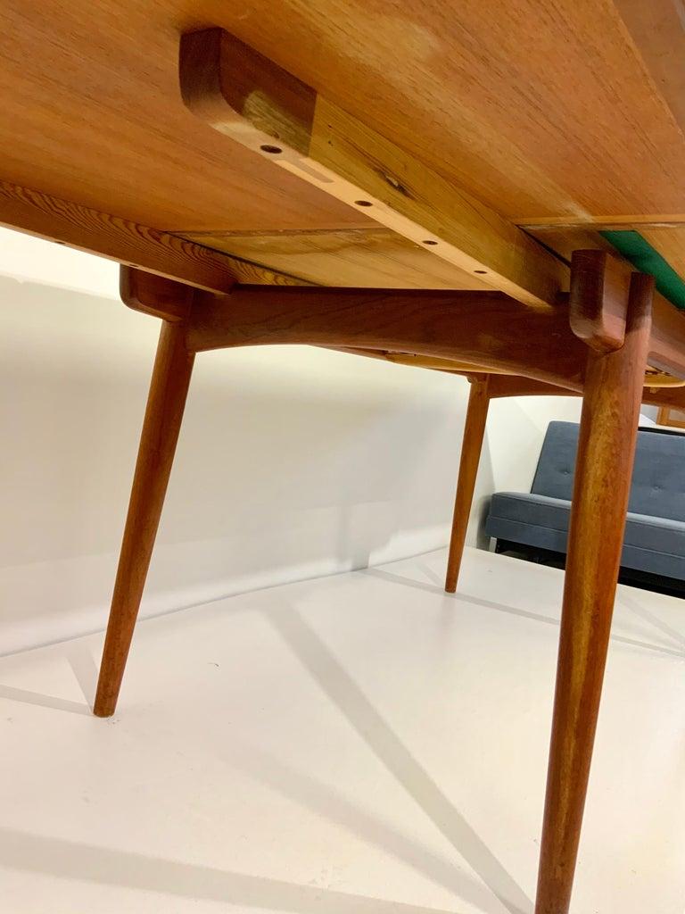 AT-312 Hans Wegner for Andreas Tuck Oak & Teak Midcentury Dining Table, Denmark For Sale 5