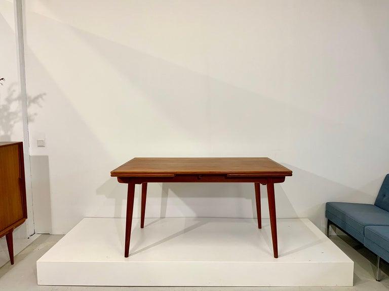 Scandinavian Modern AT-312 Hans Wegner for Andreas Tuck Oak & Teak Midcentury Dining Table, Denmark For Sale