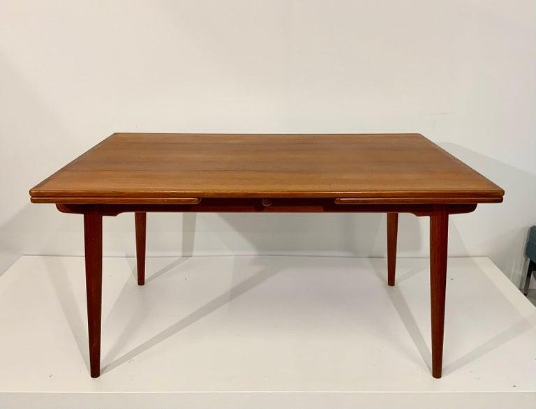 Danish AT-312 Hans Wegner for Andreas Tuck Oak & Teak Midcentury Dining Table, Denmark For Sale